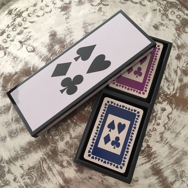 Bamboo lacquer box, containing two packs of playing cards in navy and purple