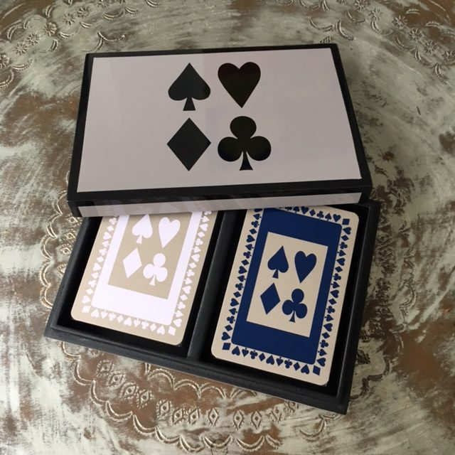 Bridge playing cards in our stunning grey lacquered box