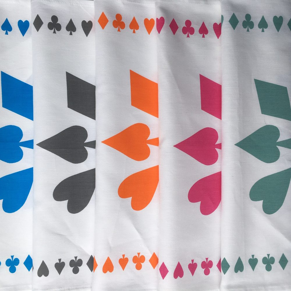 Picture of the five tea towels, showing their different colours