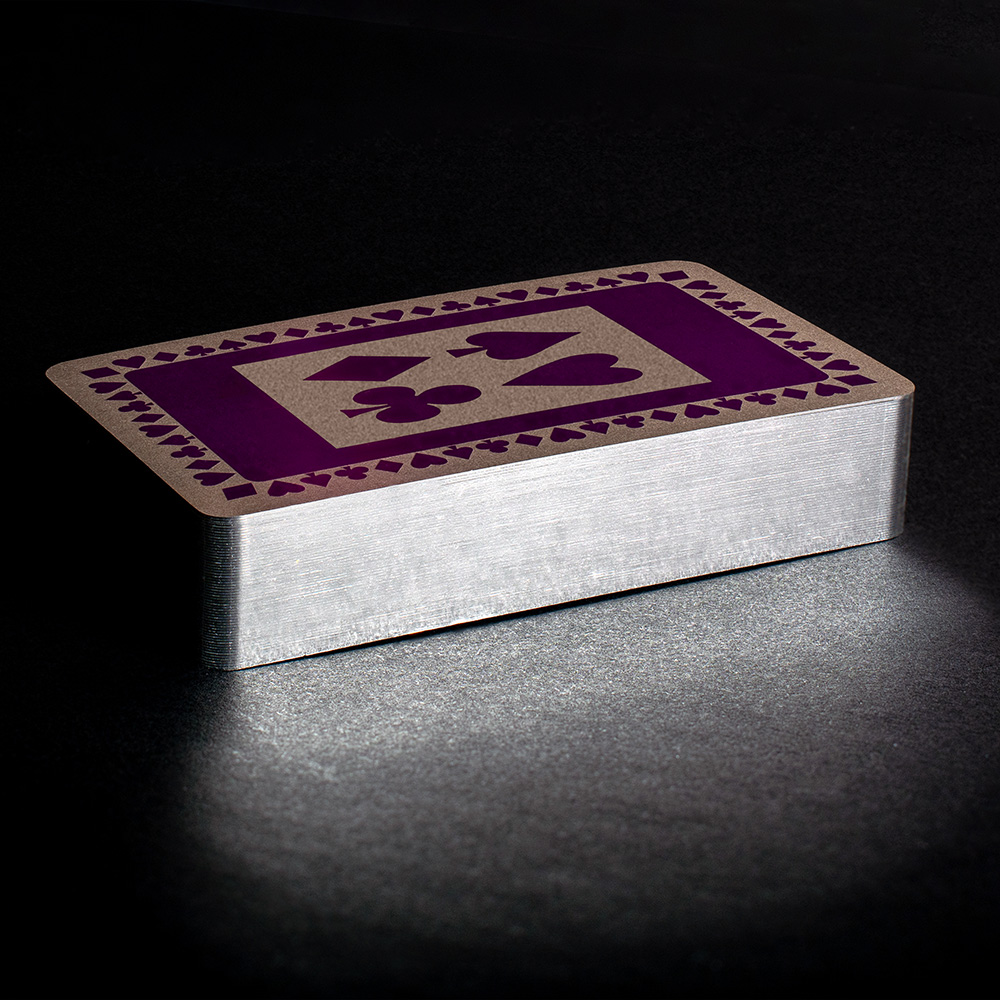Purple silver gilt playing cards