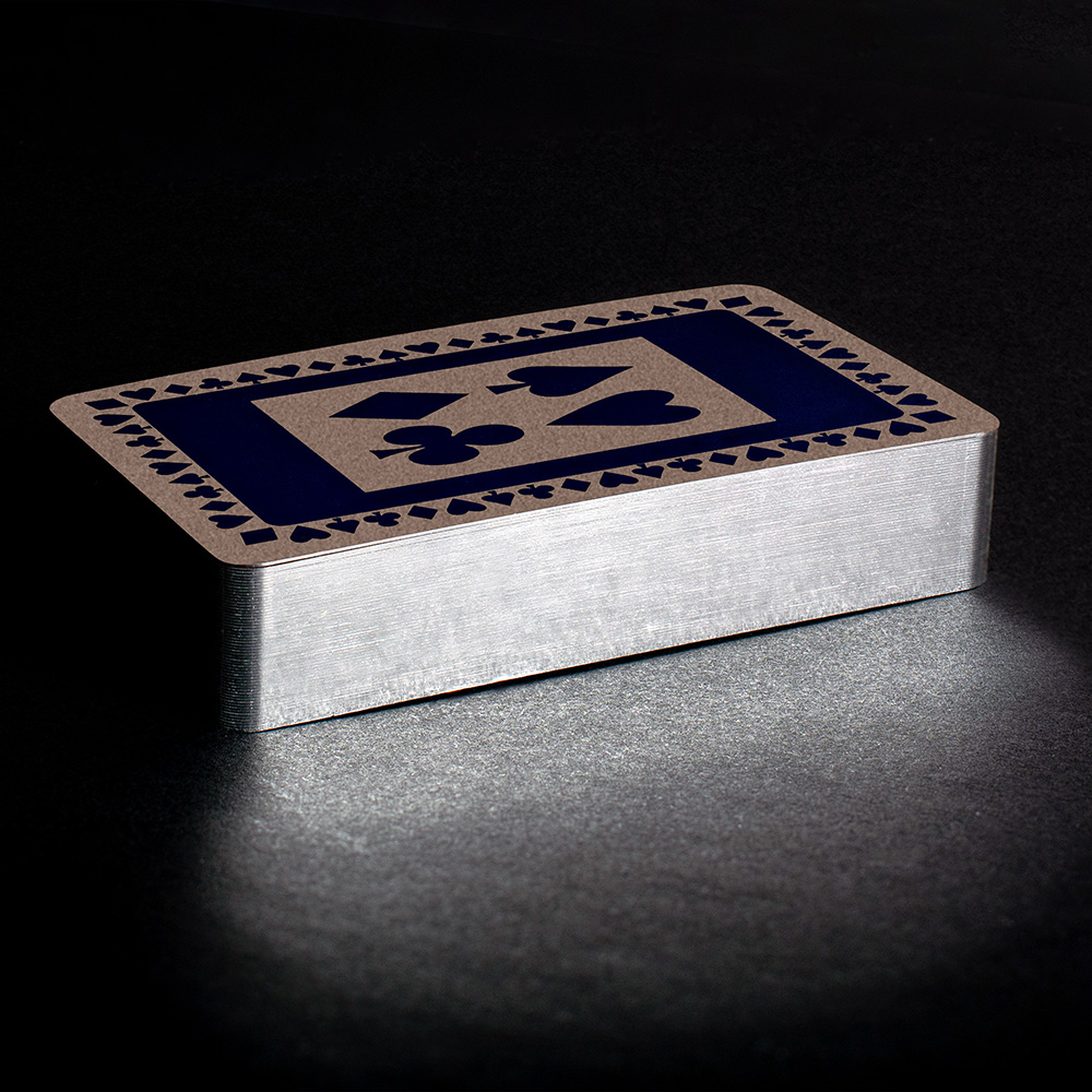 Navy silver gilt playing cards