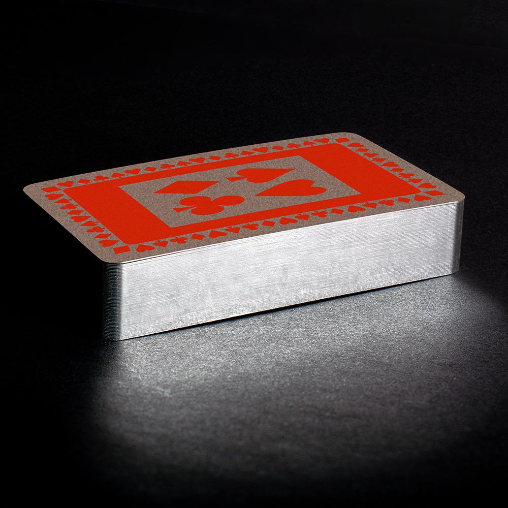 Orange silver gilt playing cards