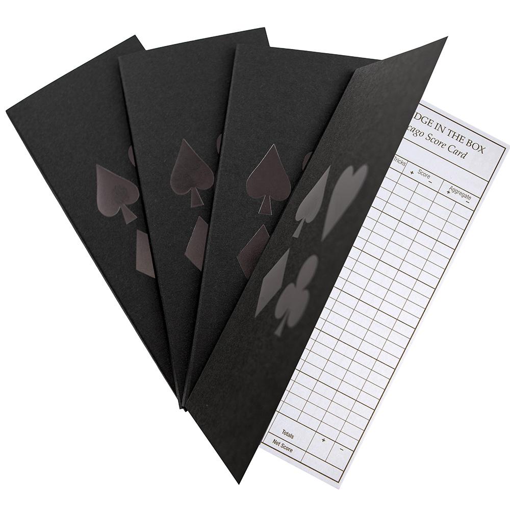 Bridge score pad for chicago scoring with black cover