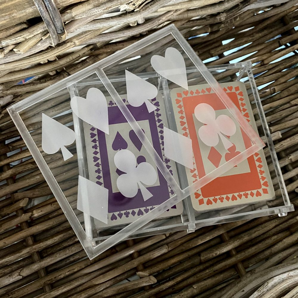 perspex box with twin set playing cards in purple and orange