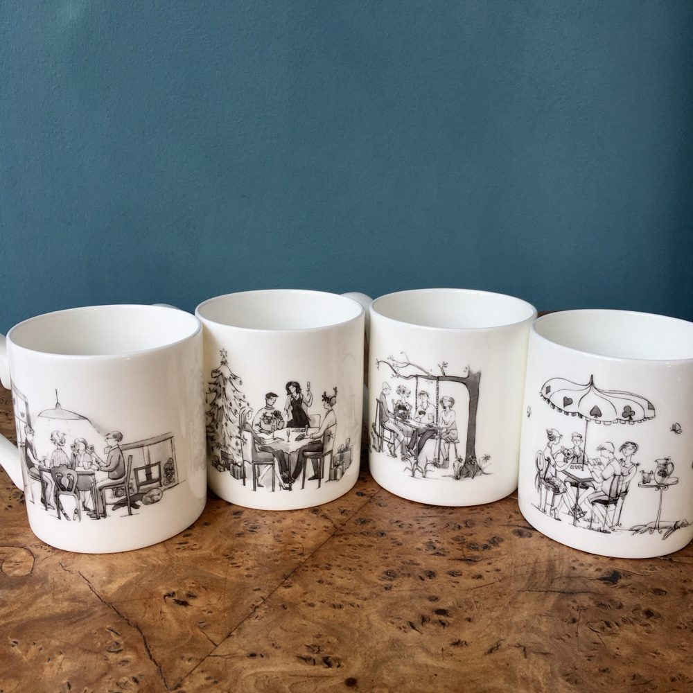 4 bone china mugs showing the other side of the mug with the seasons illustrations