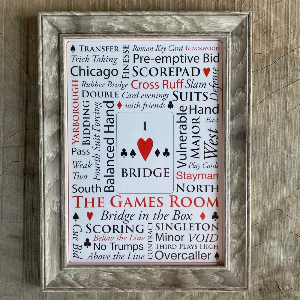A3 picture of lots of bridge terms, framed in an aged oak style frame.