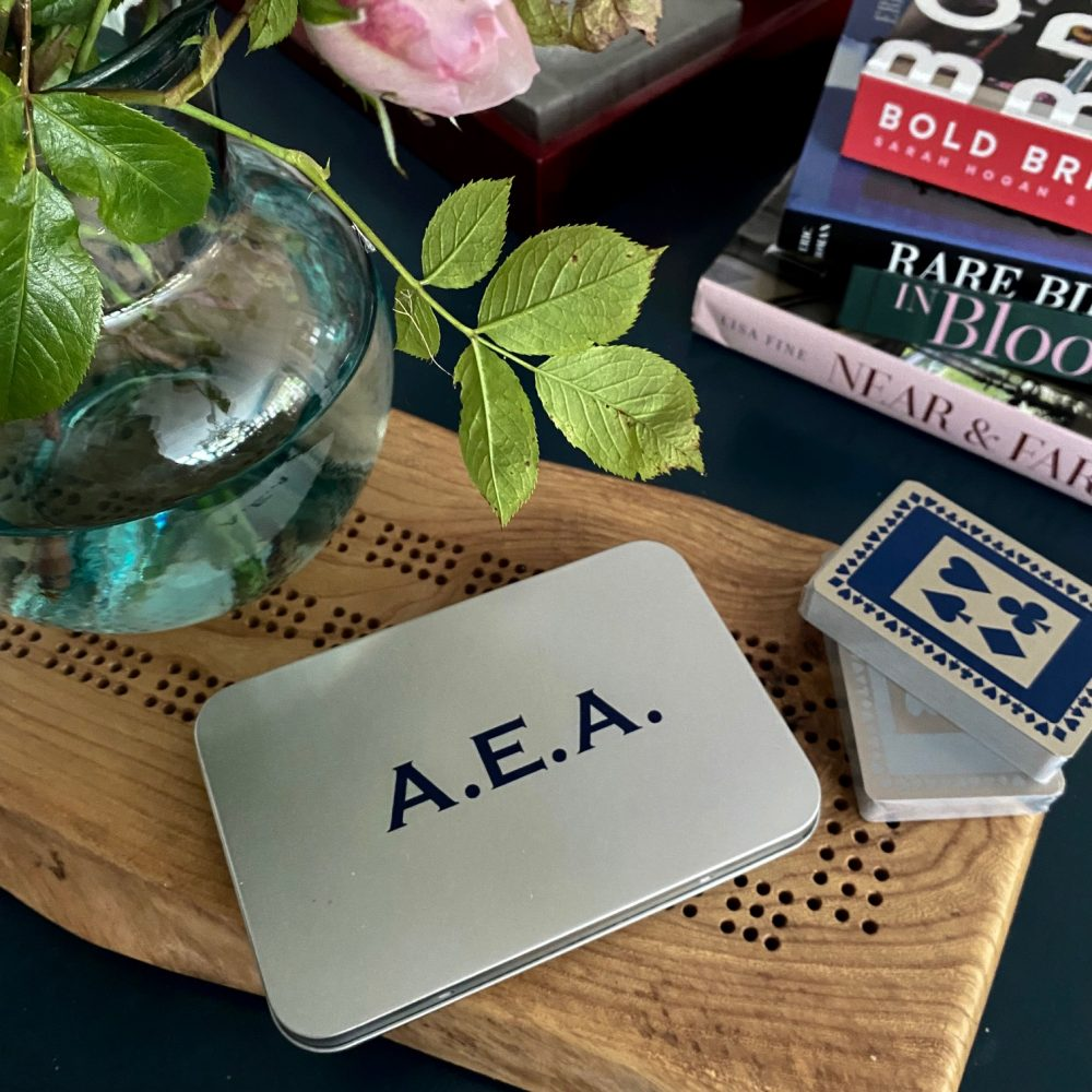 Personalised tin with initials containing twin set of playing cards