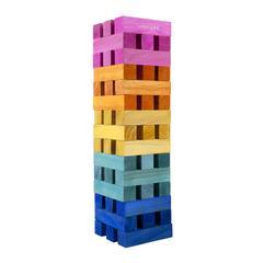 Jenga game made of coloured wood blocks
