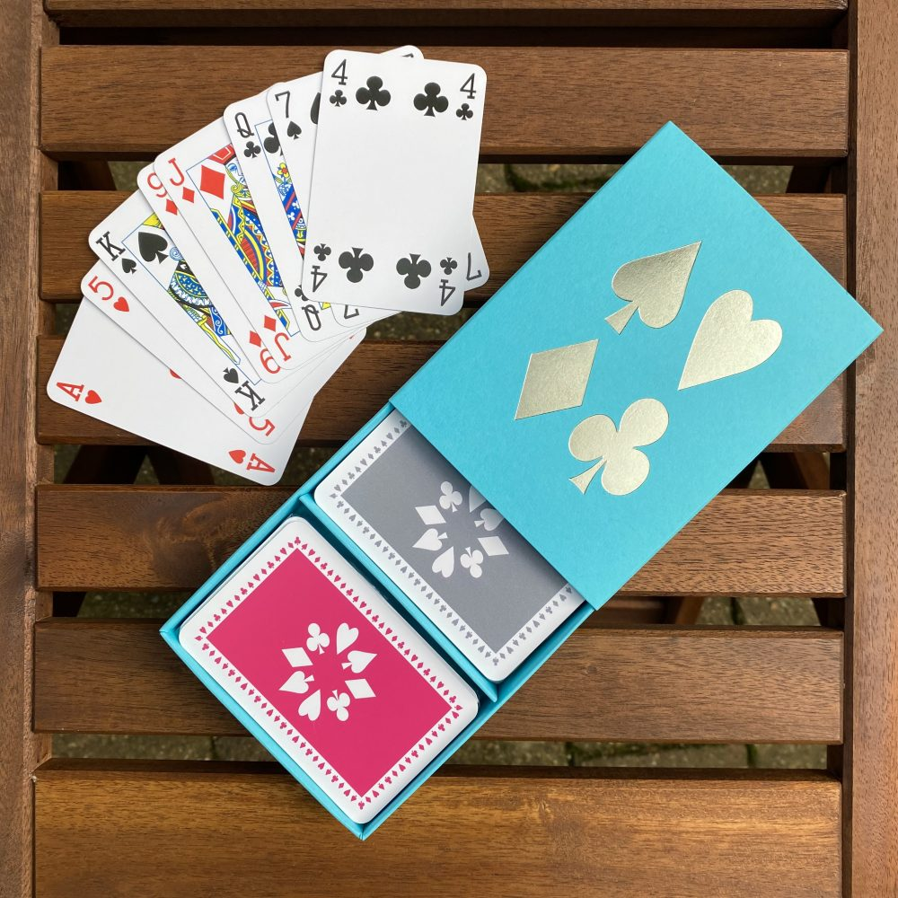 Turquoise box with pink/grey cards