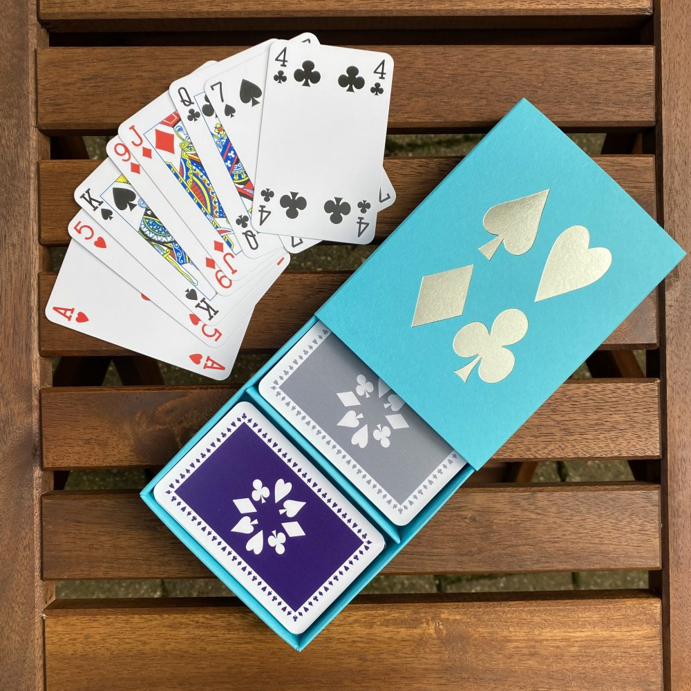 Turquoise box with grey/purple cards