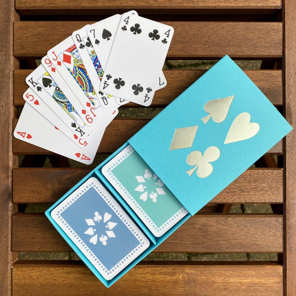 Turquoise box jade/chalk blue cards