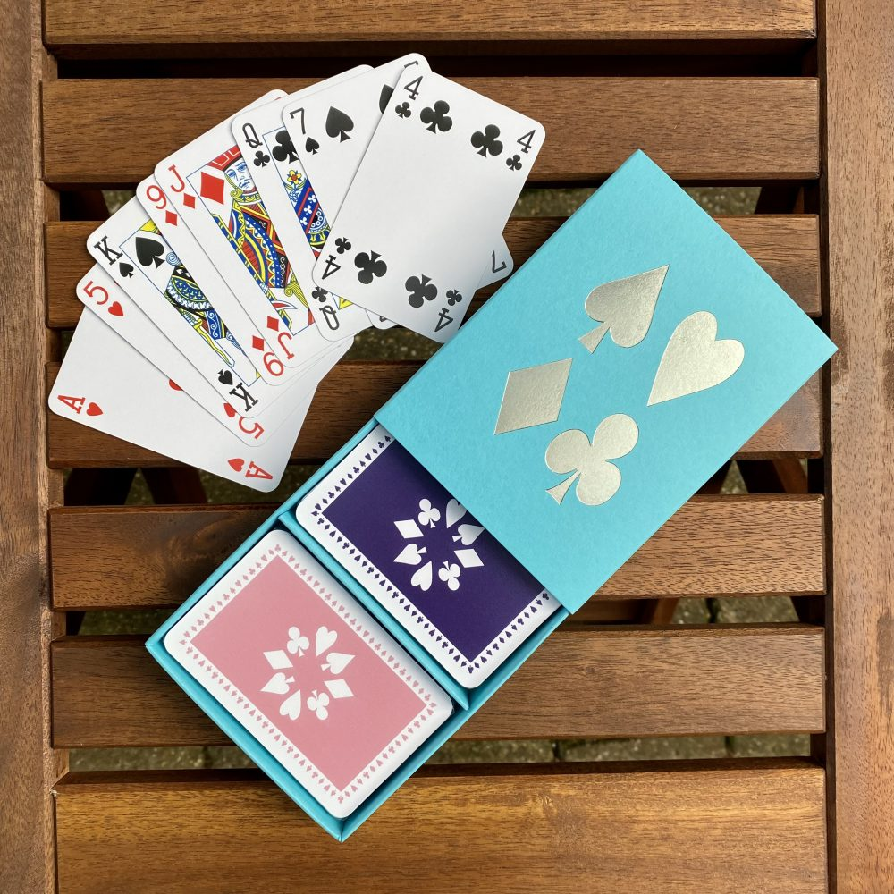 Turquoise box purple/pale pink cards