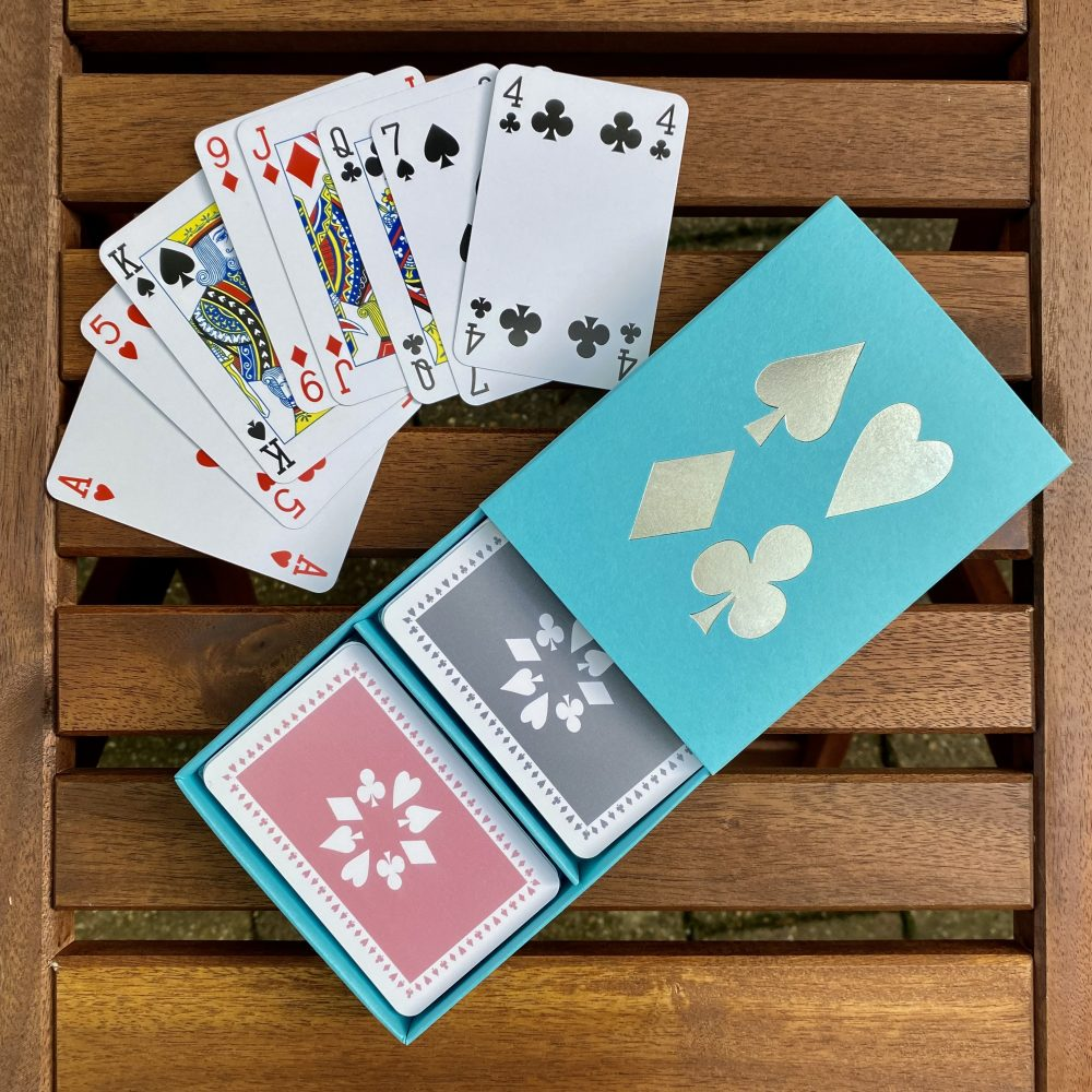 Turquoise box pale pink/grey cards