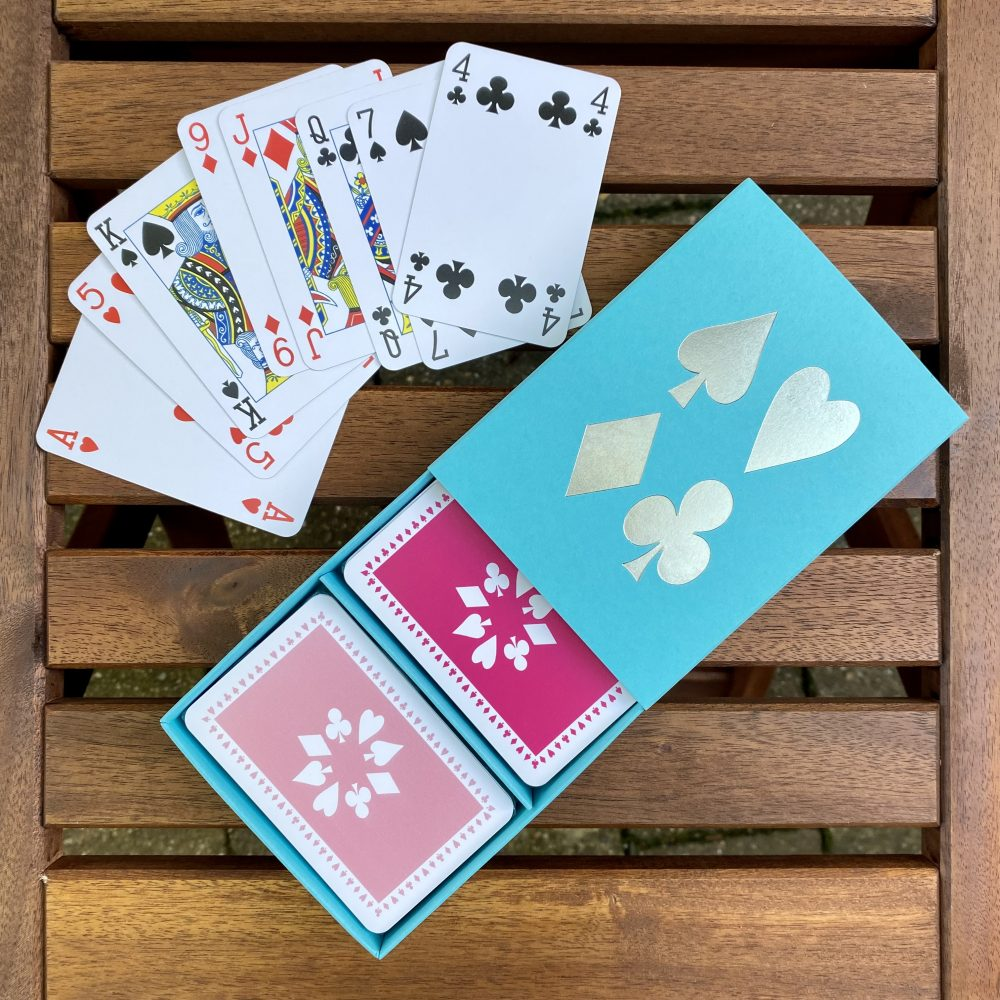 pink/pale pink cards in turquoise box