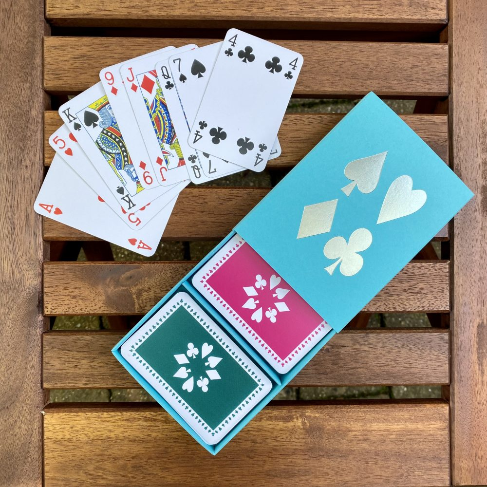 green & pink cards in turquoise box